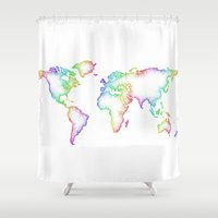 map of the world Shower Curtains featuring World map by David Zydd - Colorful Mandalas & Abstrac