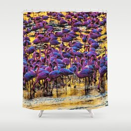 Pink Flamingos on the Serengeti Shower Curtain