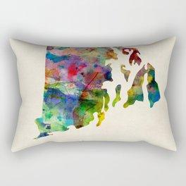 Rhode Island Watercolor Map Rectangular Pillow