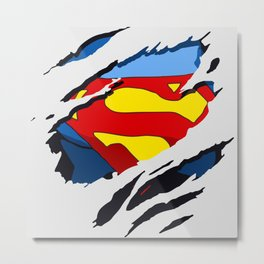 superhero torn - SuperMan Metal Print