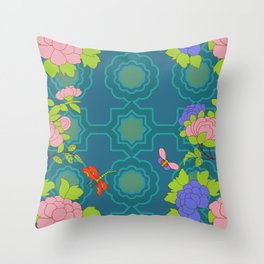 Nonya Peonies and butterfly Throw Pillow