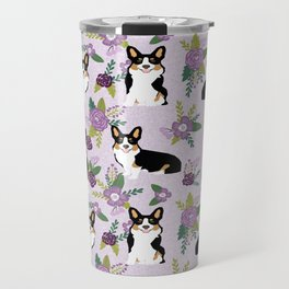 Tricolored Corgi Floral print - feminine blue purpl florals dogs, dog lover, dog mom, tri corgi cute Travel Mug