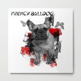 French Bulldog Chinese Painting Style Metal Print
