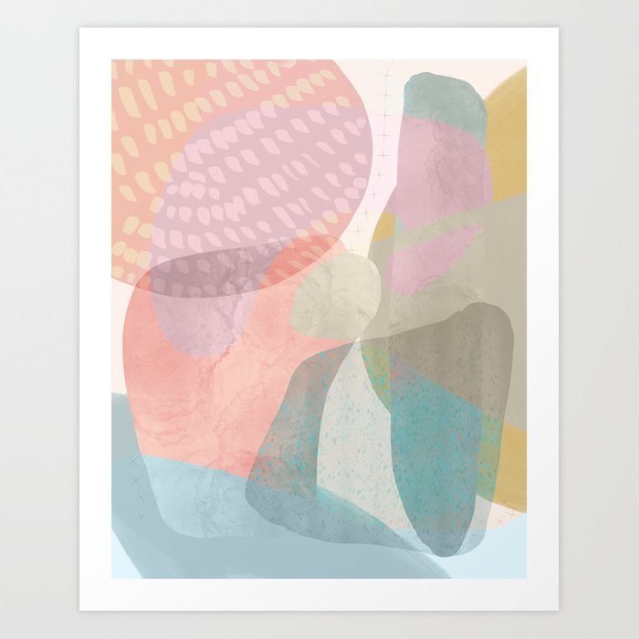Shapes And Layers No 16 Watercolor And Pastel Abstract Painting Art Print By Sewzinski