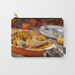 II - Oven roasted chicken with grilled pumpkin on a rustic table Carry-All Pouch