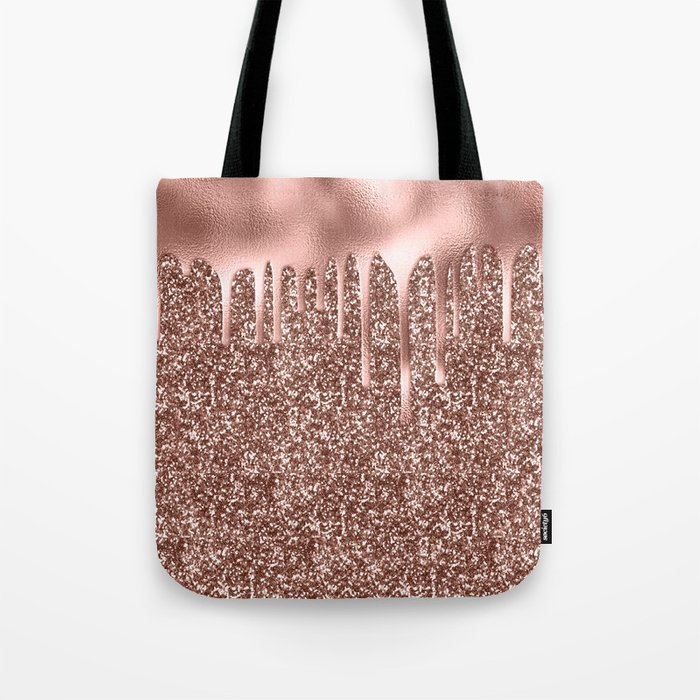 Rose Gold Drip Sparkle Tote Bag By