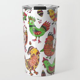 Roosters and hen pattern Travel Mug