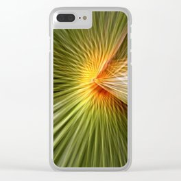 Palm leaf zoom Clear iPhone Case