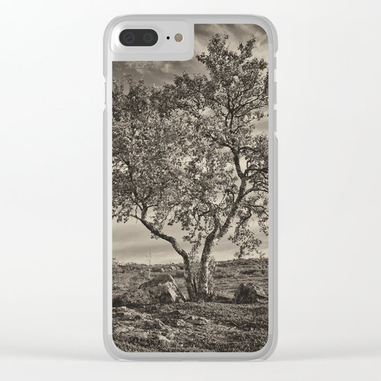 A tree in the mountains Clear iPhone Case
