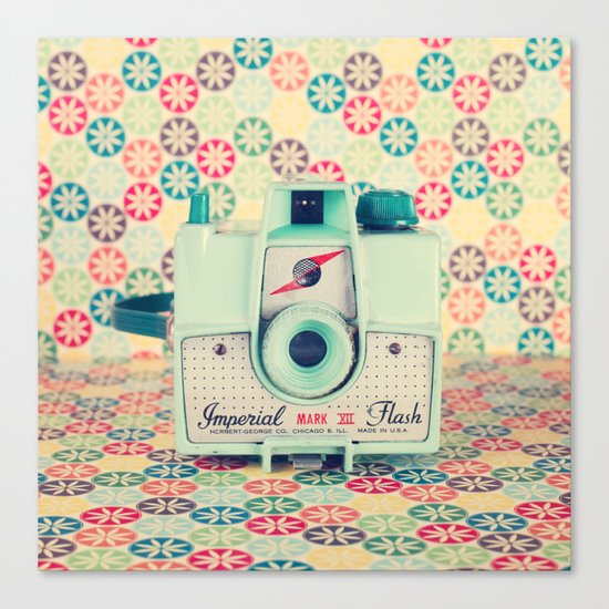 Film Mint Camera on a Colourful Retro Background  Canvas Print
