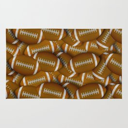 Football Field of Orange Footballs Rug