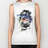 calcifer Biker Tanks featuring Howl's Moving Castle by Sandra Ink
