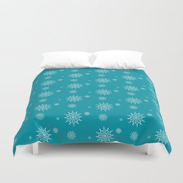 White Snowflakes on Turquoise Duvet Cover