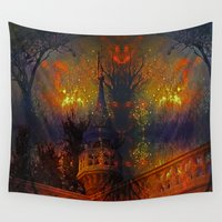 pumpkin Wall Tapestries featuring Pumpkin Castle by BeachStudio