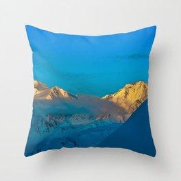 Alaska Winter Mountain Sunset Throw Pillow