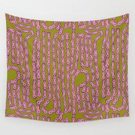 Bike Chain - Puke Pink Wall Tapestry
