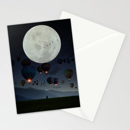 Human facing the moon and balloons by GEN Z Stationery Cards
