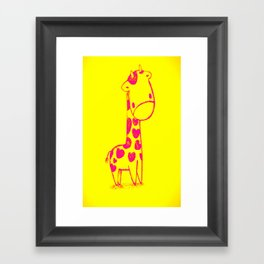 Pink Cute Giraffe Framed Art Print