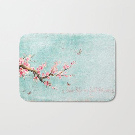 Live life in full bloom - Romantic Spring Cherryblossom butterfly Watercolor illustration on aqua Bath Mat