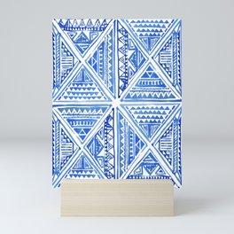 Watercolor Painting Traditional Aztec Inca Style Geometric Pattern Squares Seamless Pattern Mini Art Print
