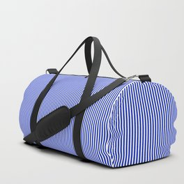 Cobalt Blue and White Vertical Nautical Sailor Stripe Duffle Bag