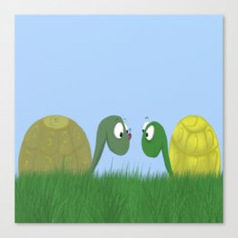 Ellie and Ollie, and Their New Friend Canvas Print