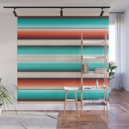 Navajo White, Turquoise and Burnt Orange Southwest Serape Blanket Stripes Wall Mural