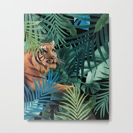 Tiger in the Jungle #1 #tropical #foliage #decor #art #society6 Metal Print