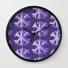 Ultra Violet Snowflake Pattern Wall Clock