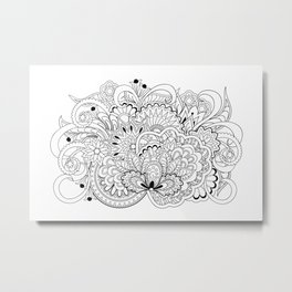 black and white zen tangled composition Metal Print