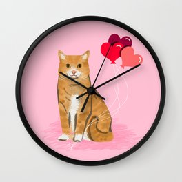 Orange Tabby ginger cats valentines day balloons hearts cat breeds must have gifts valentine's day Wall Clock