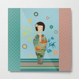 Kokeshi Geisha Japan Green Metal Print