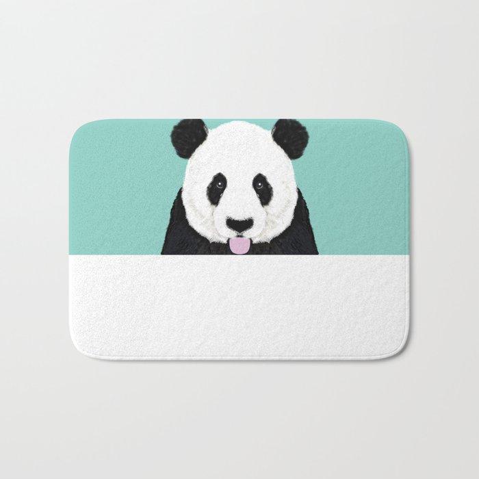 Panda - mint - cute black and white animal portrait,  design, illustration, animal cell phone, case, Bath Mat