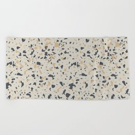 Terrazzo Pattern - Neutral Beige, Blue, Light Orange Beach Towel