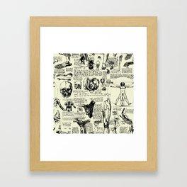 Da Vinci's Anatomy Sketchbook // Parchment Framed Art Print