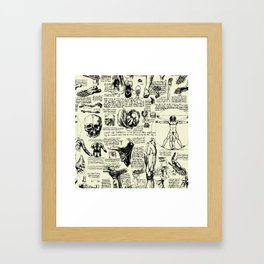 Da Vinci's Anatomy Sketchbook // Parchment Framed Art Print