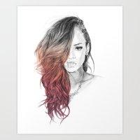 rihanna Art Prints featuring Rihanna by Coolrista