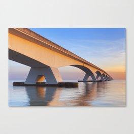The Zeeland Bridge in Zeeland, The Netherlands at sunrise Canvas Print