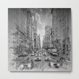 Graphic Art NEW YORK CITY Traffic | Monochrome Metal Print