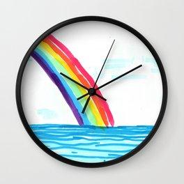 rainbow in the beach Wall Clock