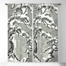 Pine trees under snow sumie ink painting Blackout Curtain