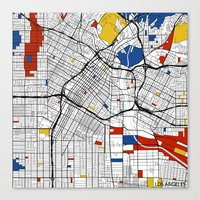 los angeles Canvas Prints featuring Los Angeles by Mondrian Maps
