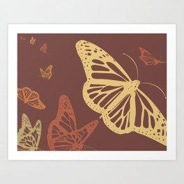 Butterflies in flight (maroon) Art Print