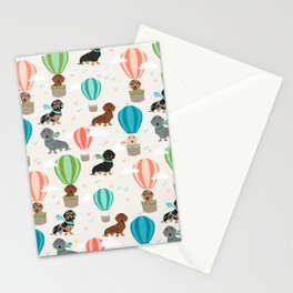 Dachshund hot air balloon dog cute design fabric doxie pillow decor phone case Stationery Cards