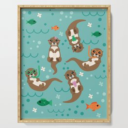 Kawaii Otters Playing Underwater Serving Tray