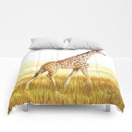 Giraffe painting Comforters
