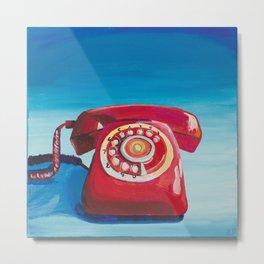 Retro Red Phone Metal Print