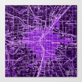 Denver Colorado map, year 1958, purple filter Canvas Print