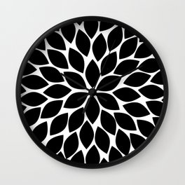 Black & White Chrysanthemum Wall Clock