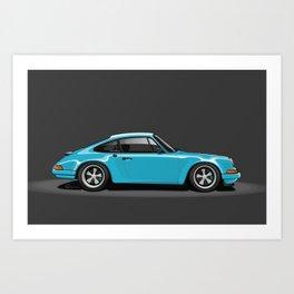 Singer Porsche - Miami Blue Art Print